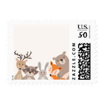 Woodland Postage Stamps Baby shower Animals Woods