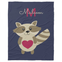 Woodland Raccoon Adorable Monogrammed Personalized Fleece Blanket