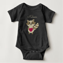 Woodland Raccoon Adorable Personalized Baby Animal Baby Bodysuit