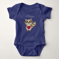 Woodland Raccoon Adorable Personalized Baby Animal Baby Bodysuit