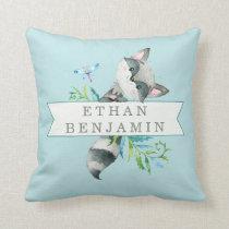 Woodland Raccoon Aqua Personalized Throw Pillow