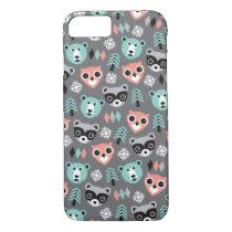 Woodland raccoon bear and owl illustration print iPhone 7 case