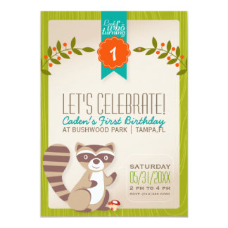 "Woodland Raccoon Birthday Invitation 5"" X 7"" Invitation Card"