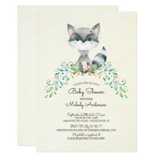 Woodland Raccoon Neutral Baby Shower Invitation