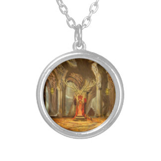 Woodland Realm Throne Room Concept Round Pendant Necklace