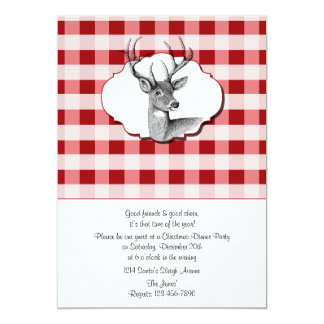 """Woodland Red and White Checked Christmas Dinner 5"""" X 7"""" Invitation Card"""