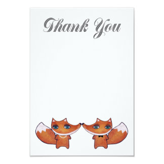 Woodland Red Fox Couple Thank You Note Cards Personalized Announcement