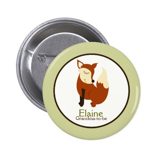 Woodland Red Fox NAME TAG Custom Button