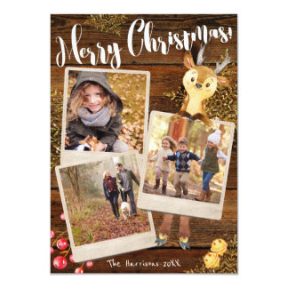 Woodland Reindeer   3-Photo Personalized Christmas Card