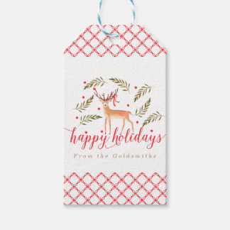 Woodland Reindeer Happy Holidays Personalized Gift Tags