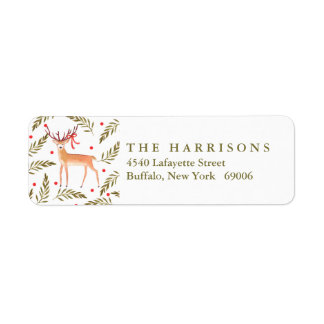 Woodland Reindeer Happy Holidays Personalized Label