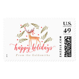 Woodland Reindeer Happy Holidays Personalized Postage