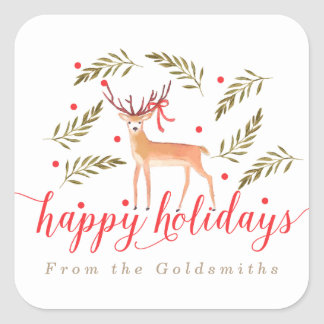 Woodland Reindeer Happy Holidays Personalized Square Sticker
