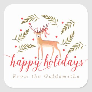 Woodland Reindeer Happy Holidays Personalized