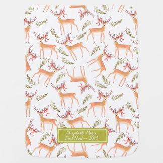 Woodland Reindeer Happy Holidays Personalized Swaddle Blanket