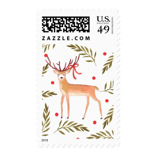 Woodland Reindeer Happy Holidays Postage