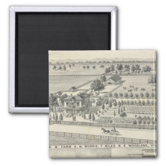 Woodland residences, farms 2 inch square magnet