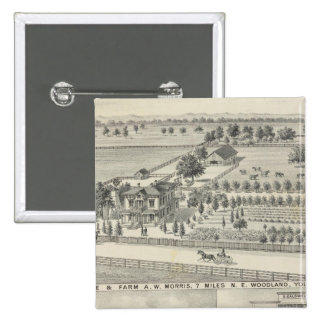 Woodland residences, farms pinback button