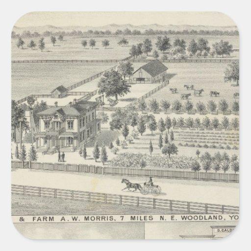 Woodland residences, farms square sticker