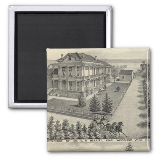 Woodland residences lithographed drawing 2 inch square magnet