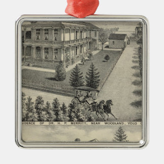 Woodland residences lithographed drawing christmas ornaments