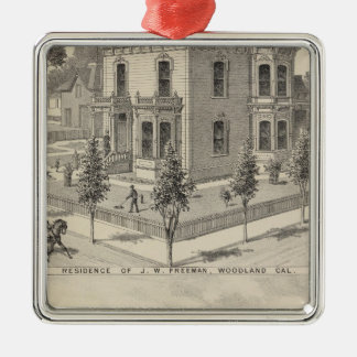 Woodland residences lithographed metal ornament