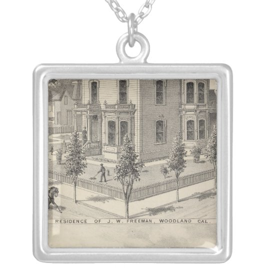 Woodland residences lithographed silver plated necklace