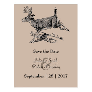 Woodland | Rustic Deer Save the Date Postcard