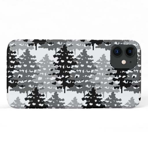 Woodland Rustic Gray Forest Winter Pine Trees iPhone 11 Case