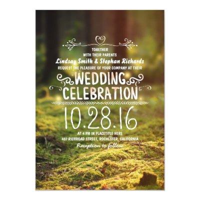 Moss Enchanted Forest Firefly Wedding Invitations | Zazzle