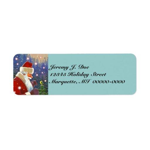 Woodland Santa & Natural Tree Topper Chickadee Label