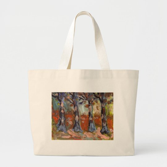 WOODLAND SCENE FINGER PAINTING LARGE TOTE BAG