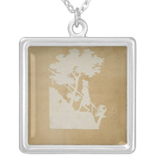 Woodland Scene Silver Plated Necklace