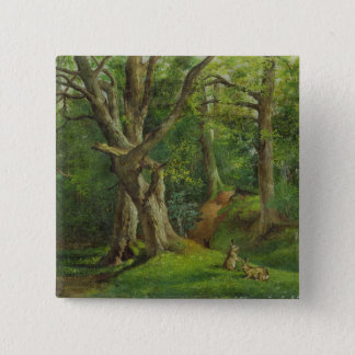 Woodland Scene with Rabbits, 1862 (oil on canvas) Button