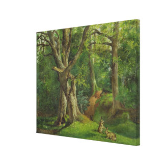 Woodland Scene with Rabbits, 1862 (oil on canvas) Canvas Print