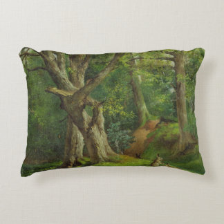Woodland Scene with Rabbits, 1862 (oil on canvas) Decorative Pillow