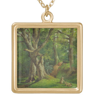 Woodland Scene with Rabbits, 1862 (oil on canvas) Gold Plated Necklace