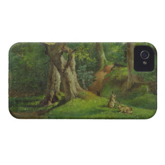 Woodland Scene with Rabbits, 1862 (oil on canvas) iPhone 4 Case