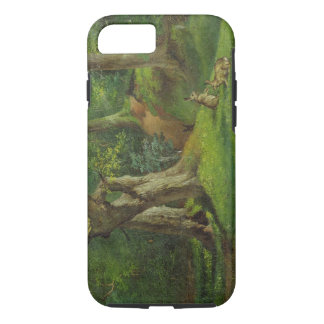 Woodland Scene with Rabbits, 1862 (oil on canvas) iPhone 8/7 Case