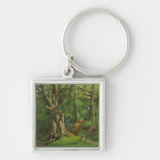 Woodland Scene with Rabbits, 1862 (oil on canvas) Keychain