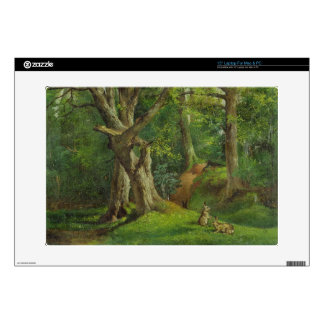 Woodland Scene with Rabbits, 1862 (oil on canvas) Laptop Decal