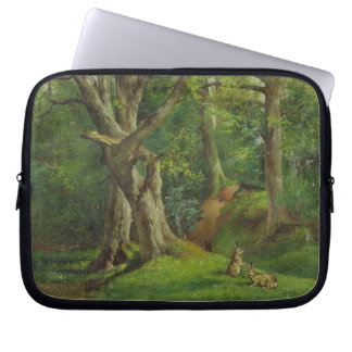 Woodland Scene with Rabbits, 1862 (oil on canvas) Laptop Sleeve