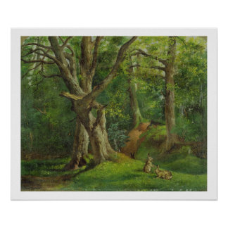 Woodland Scene with Rabbits, 1862 (oil on canvas) Poster