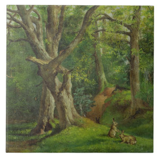 Woodland Scene with Rabbits, 1862 (oil on canvas) Tile
