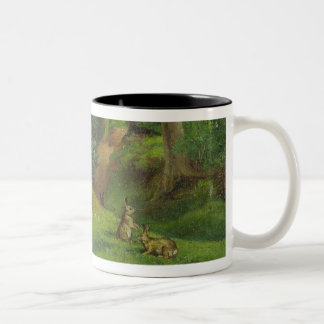 Woodland Scene with Rabbits, 1862 (oil on canvas) Two-Tone Coffee Mug