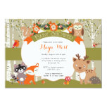 Woodland Shower - Forest Animals Themed Baby Showe 5x7 Paper Invitation Card
