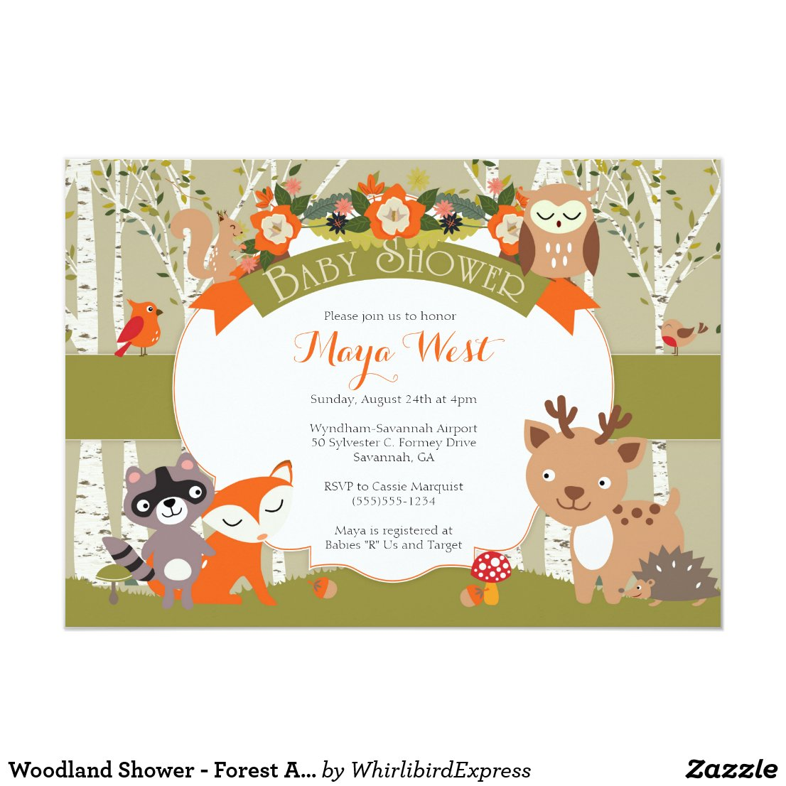 Woodland Shower - Forest Animals Themed Baby Showe Card