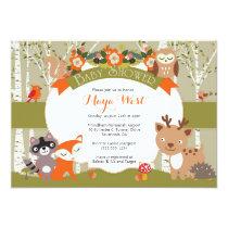 Woodland Shower - Forest Animals Themed Baby Showe Invitation