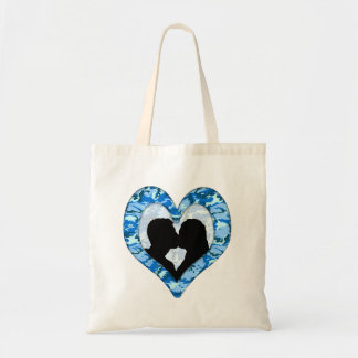 Woodland Sky Blue Camouflage Kissing Couple Tote Bag