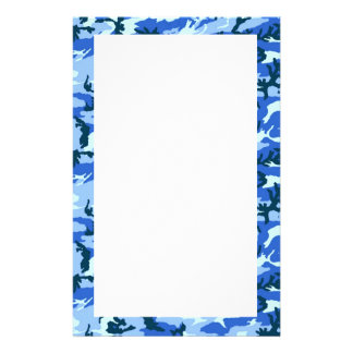 Woodland Sky Blue Camouflage Stationery